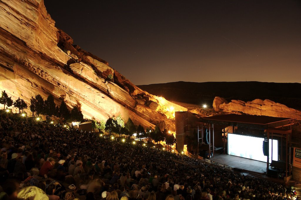 Red Rocks at night. Source: Wikimedia Commons